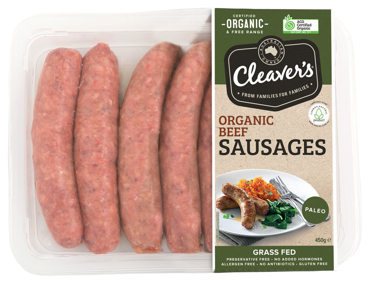 Cleaver's Organic Paleo Beef Sausages