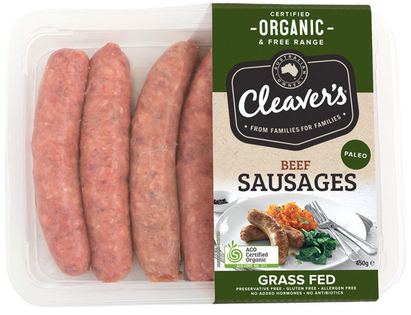 Cleaver's Grass Fed Paleo Beef Sausages