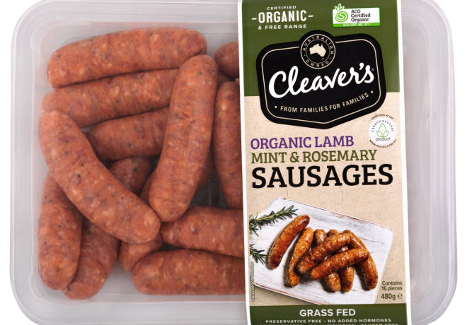 Cleaver's Organic Lamb Mint & Rosemary Sausages