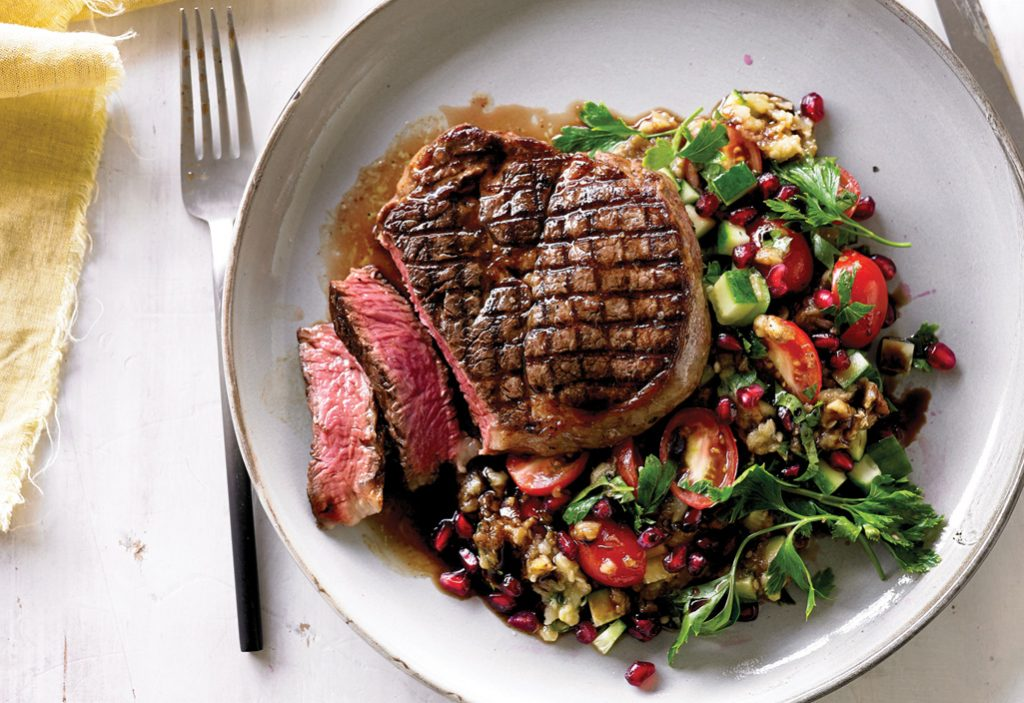 Cleaver's Grilled Ribeye Fillet with Smoky Eggplant Salad